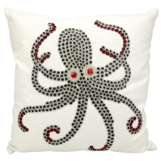 Mina Victory Indoor/Outdoor Beaded Octopus White Throw Pillowby Nourison (18-Inch X 18-Inch)