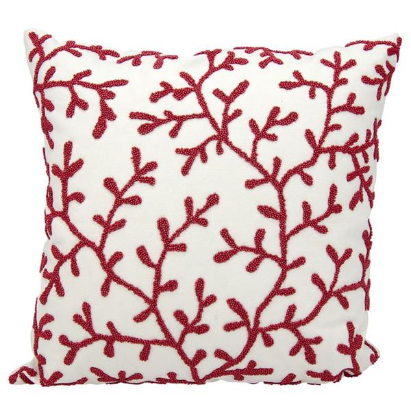 Mina Victory Indoor/Outdoor Beaded Seaweeds Red/White Throw Pillowby Nourison (18-Inch X 18-Inch)