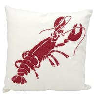 Mina Victory Indoor/Outdoor Beaded Lobster Red/White Throw Pillow (18-inch x 18-inch) by Nourison