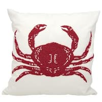 Mina Victory Indoor/Outdoor Beaded Crab Red/White Throw Pillow (18-inch x 18-inch) by Nourison