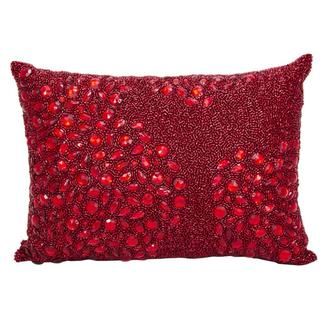 Mina Victory Luminescence Fully Beaded Scarlet Throw Pillowby Nourison (10-Inch X 14-Inch)