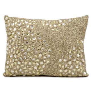 Mina Victory Luminescence Fully Beaded Beige Throw Pillow (10-inch x 14-inch) by Nourison