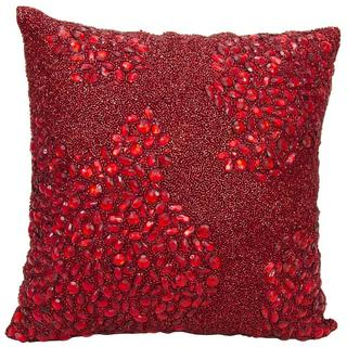 Mina Victory Luminescence Fully Beaded Scarlet Throw Pillow (16-inch x 16-inch) by Nourison