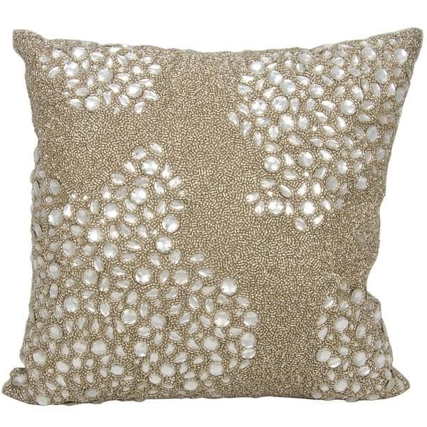 Mina Victory Luminescence Fully Beaded Beige Throw Pillowby Nourison (16-Inch X 16-Inch)