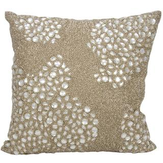 Mina Victory Luminescence Fully Beaded Beige Throw Pillow (16-inch x 16-inch) by Nourison