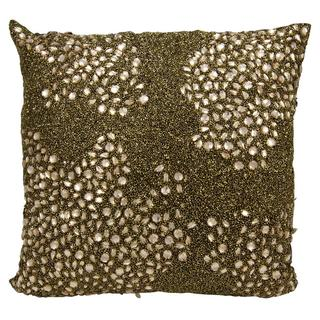 Mina Victory Luminescence Fully Beaded Amber Throw Pillow (16-inch x 16-inch) by Nourison
