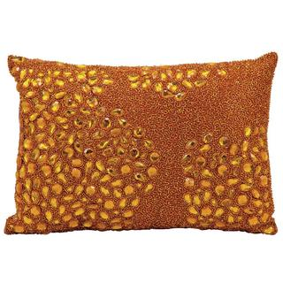 Mina Victory Luminescence Fully Beaded Orange Throw Pillow (10-inch x 14-inch) by Nourison