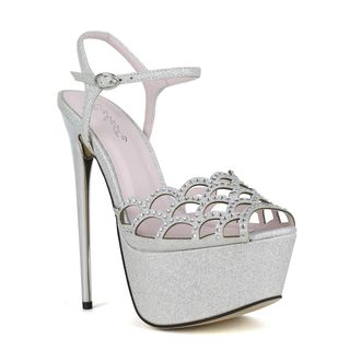 Celeste Women's Hilary-01 Rhinestone Embellished Laser-Cut Peep-Toe High Heel