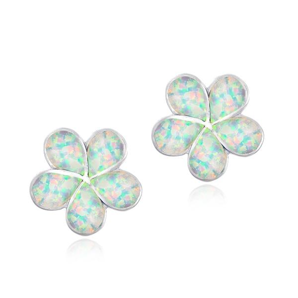Glitzy Rocks Sterling Silver Synthetic Opal Flower Earrings