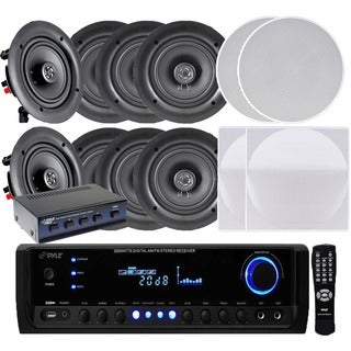 Pyle KTHSP390 300W Receiver/ Amplifier with 4 Pairs of 150W 5.25-inch In-Ceiling Speakers and Speaker Selector|https://ak1.ostkcdn.com/images/products/10152268/P17281870.jpg?_ostk_perf_=percv&impolicy=medium