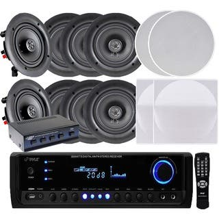 Pyle KTHSP390 300W Receiver/ Amplifier with 4 Pairs of 150W 5.25-inch In-Ceiling Speakers and Speaker Selector|https://ak1.ostkcdn.com/images/products/10152268/P17281870.jpg?impolicy=medium