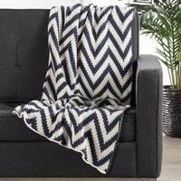 """Stripe Pattern Black iris/White swan Cotton (50""""x60"""") Throw"""