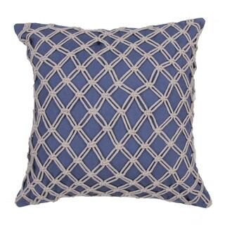 Textural Pattern Vintage indigo/Creme brulee Cotton 22-inch Throw Pillow