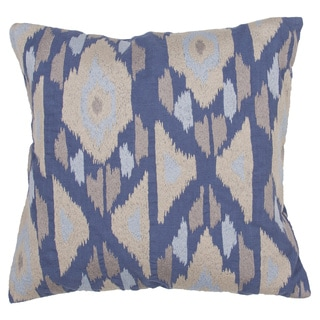 Tribal Pattern Vintage indigo/Creme brulee Cotton 22-inch Throw Pillow