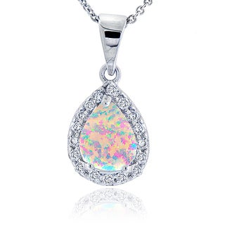 Glitzy Rocks Sterling Silver Synthetic Opal and Cubic Zirconia Teardrop Necklace