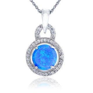 Glitzy Rocks Sterling Silver Synthetic Opal and Cubic Zirconia Circle Necklace