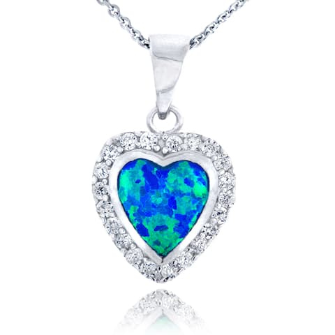 Glitzy Rocks Sterling Silver Synthetic Opal and Cubic Zirconia Heart Necklace