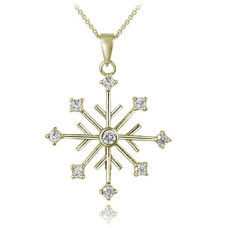 ICZ Stonez 18k Gold over Silver Cubic Zirconia Snowflake Necklace