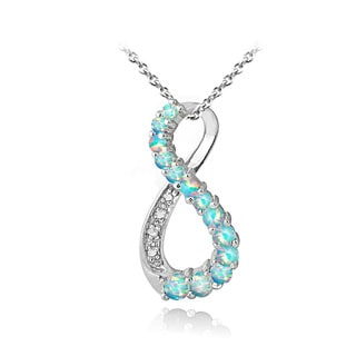 Glitzy Rocks Sterling Silver Synthetic Opal and Diamond Accent Infinity Necklace