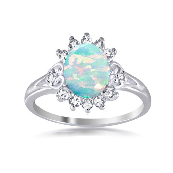 Glitzy Rocks Sterling Silver Synthetic Opal and Cubic Zirconia Flower Ring - White