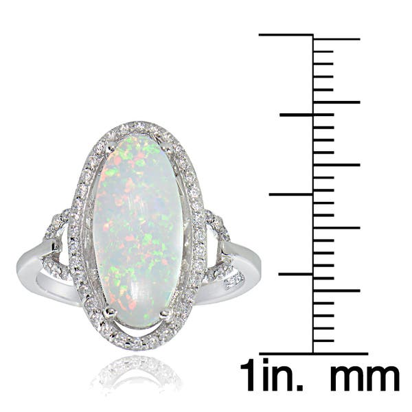 945e5dc3cb47e3 Glitzy Rocks Sterling Silver Synthetic Opal and Cubic Zirconia Oval Ring