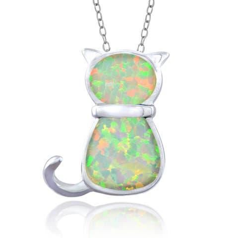 Glitzy Rocks Sterling Silver Synthetic Opal Cat Necklace