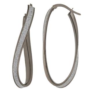 Fremada 14k Black Gold Glittered Surface Twist Design Elongated Earrings