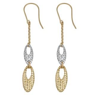 Fremada 14k Two-tone Gold Diamond-cut Graduated Ovals Dangle Earrings