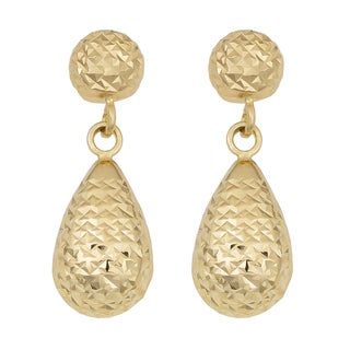 Fremada 14k Yellow Gold Diamond-cut Teardrop Dangle Earrings