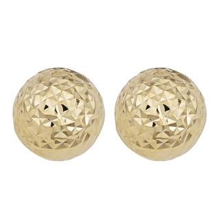 Fremada 14k Yellow Gold Diamond-cut Ball Earrings