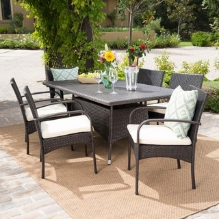 Rudolph Outdoor 7-piece Wicker Dining Set with Cushions by Christopher Knight Home
