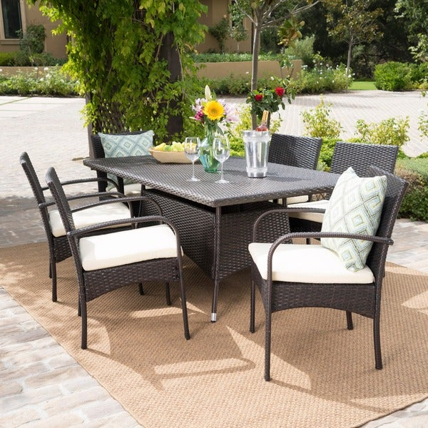 Rudolph Outdoor 7 Piece Wicker Dining Set With Cushions By Christopher Knight Home