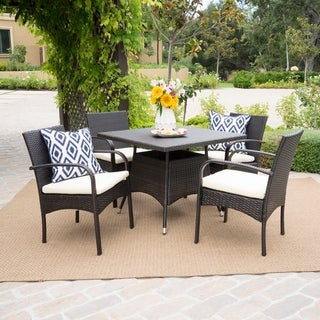 Link to Patterson Outdoor 5-piece Wicker Dining Set with Cushions by Christopher Knight Home Similar Items in Outdoor Dining Sets