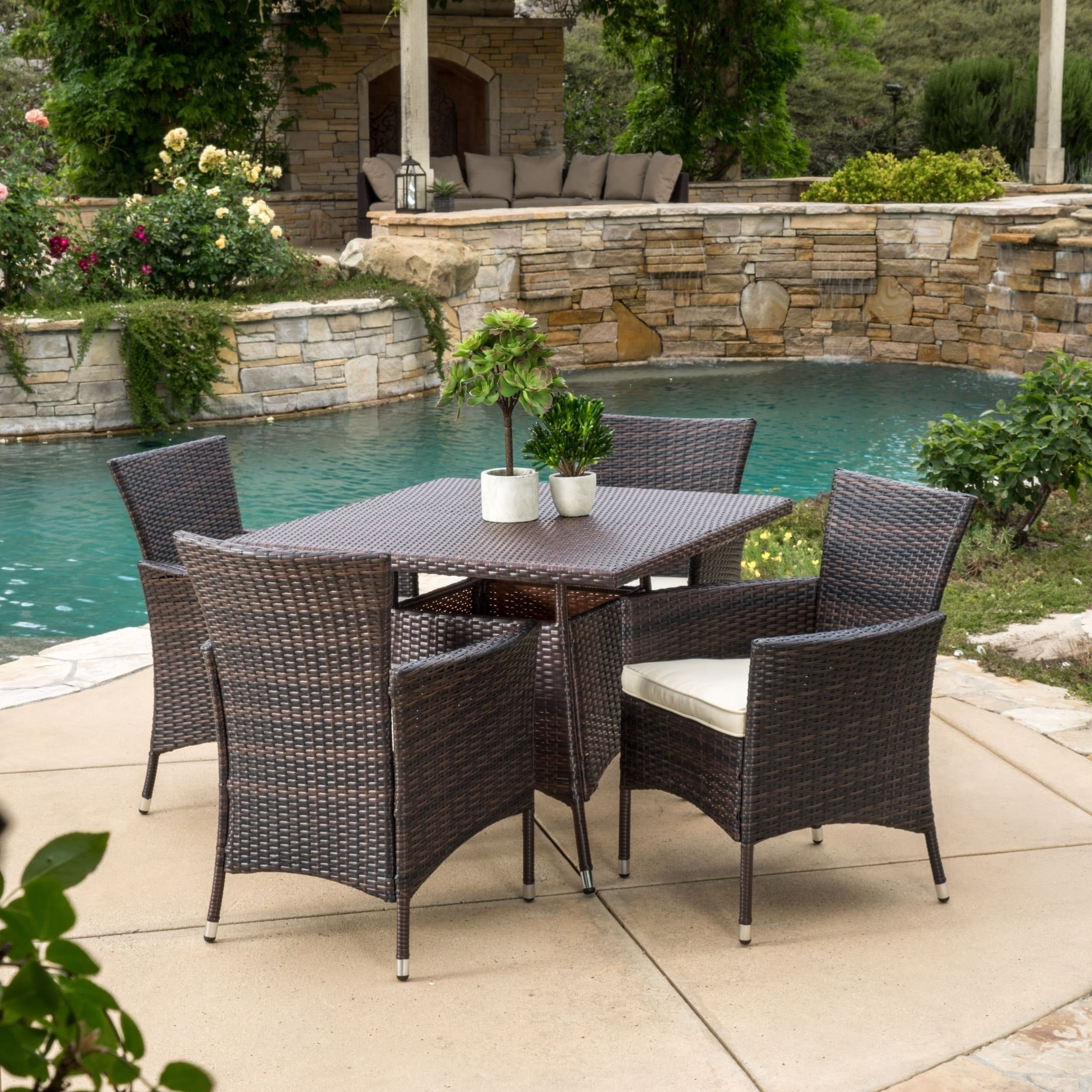 Danielle Outdoor 5-piece Wicker Dining Set with Cushions ...