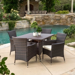 Danielle Outdoor 5-piece Wicker Dining Set with Cushions by Christopher Knight Home