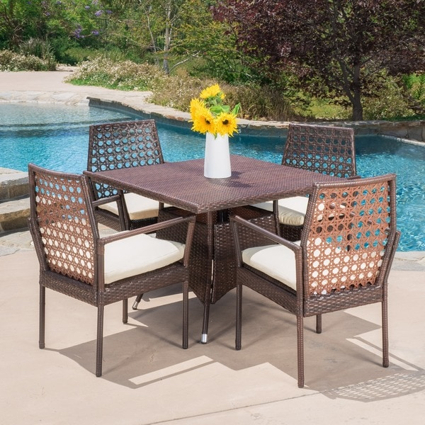 Durrell Outdoor 5-piece Wicker Dining with Cushions by Christopher Knight Home