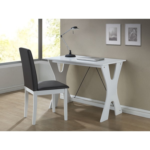 Studio Cary Contemporary Dark Brown/ White Writing Desk and Chair Set