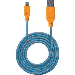 Manhattan Braided USB 2.0 A Male / Micro-B Male, 3 ft., Blue/Orange -