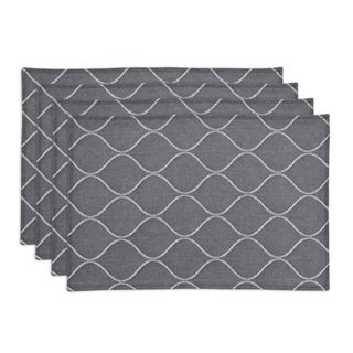 Oh Gee Heather Grey 12.5-inch x 19-inch Lined Placemat (Set of 4)