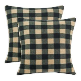 Fleece Buffalo Plaid Brown 17-inch Throw Pillow (Set of 2)
