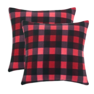 Fleece Buffalo Plaid Red 17-inch Throw Pillow (Set of 2)