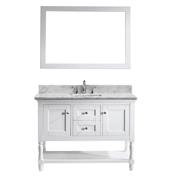 Virtu Usa Julianna 48 Inch Italian Carrara White Marble Single Bathroom Vanity Cabinet Set