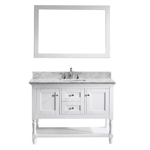 Virtu USA Julianna 48-inch Italian Carrara White Marble Single Bathroom Vanity Cabinet Set