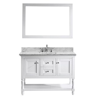 Virtu USA Julianna 48-inch Italian Carrara White Marble Single Bathroom Vanity Cabinet Set