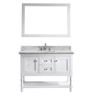 Virtu USA Julianna 48 Inch Italian Carrara White Marble Single Bathroom  Vanity Cabinet Set