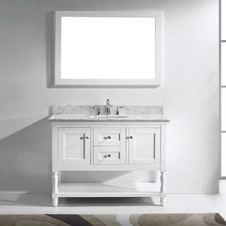 Virtu USA Julianna 48-inch Italian Carrara White Marble Single Bathroom Vanity Cabinet Set (2 options available)