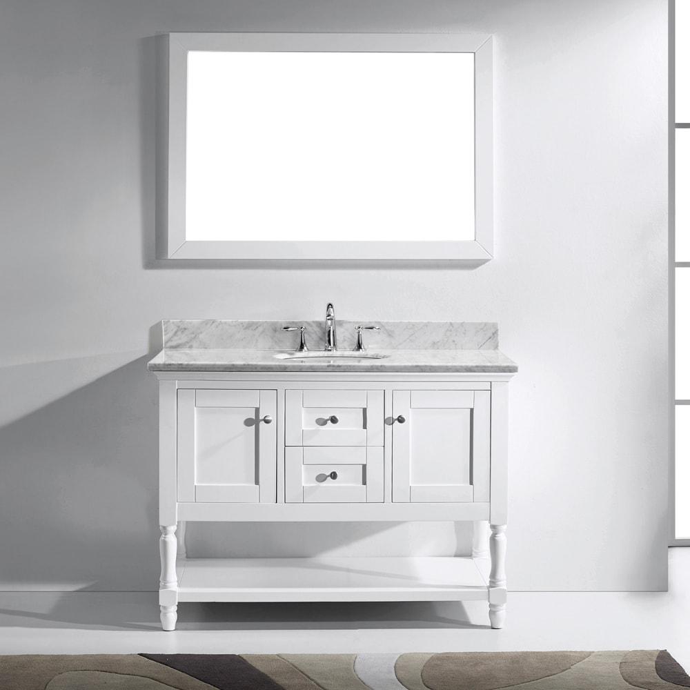 Virtu USA Julianna 48 Inch Italian Carrara White Marble Single Bathroom  Vanity Cabinet Set (