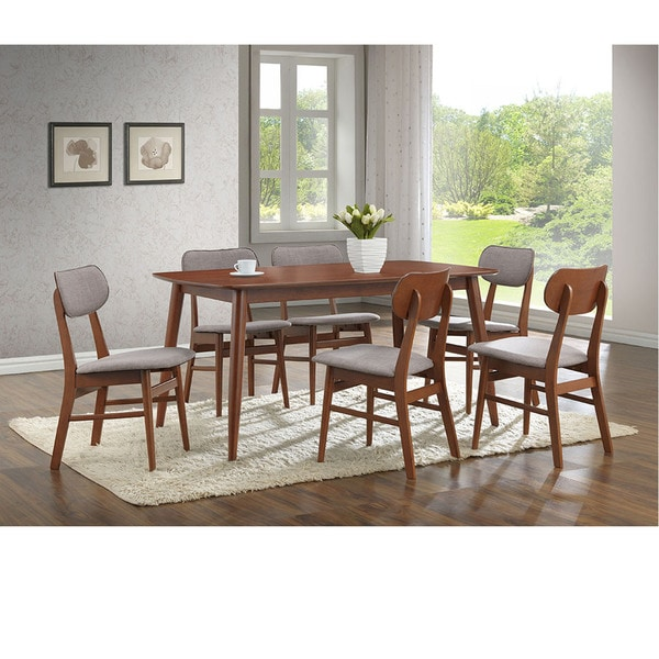 Baxton Studio Sacramento Mid Century Dark Walnut Wood 7piece Dining Set