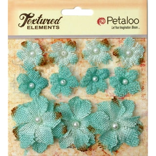 Textured Elements Burlap Mini Flowers .75in To 1.5in 11/PkgTeal