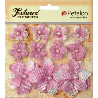 Textured Elements Burlap Mini Flowers .75in To 1.5in 11/PkgLavender